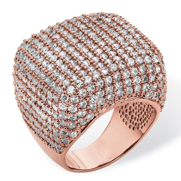 6.76 TCW Round Cubic Zirconia Pave Dome Ring Rose Gold-Plated Glam CZ
