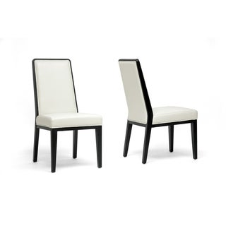 Theia Black Wood and Cream Leather Modern Dining Chairs (Set of 2)