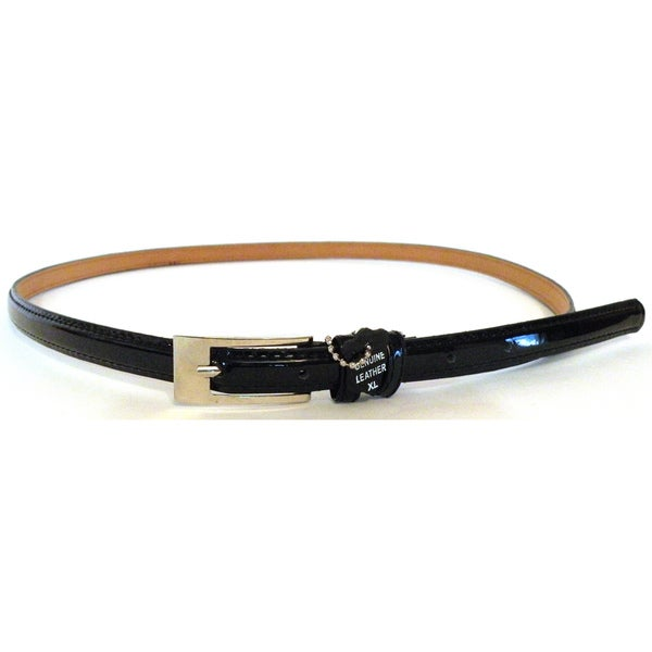 Women's Black Patent Leather Skinny Belt