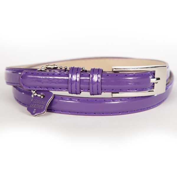 Women's Purple Patent Leather Skinny Belt