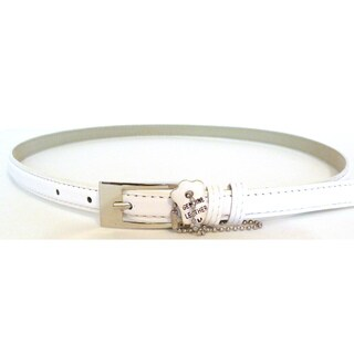 Women's White Leather Skinny Belt