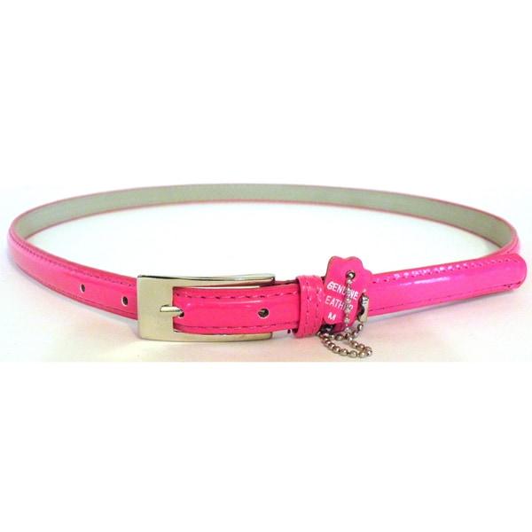 Women's Pink Patent Leather Skinny Belt