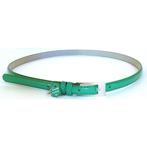 Women's Green Patent Leather Skinny Belt