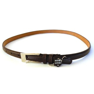 Womens Brown Leather Skinny Dress Belt