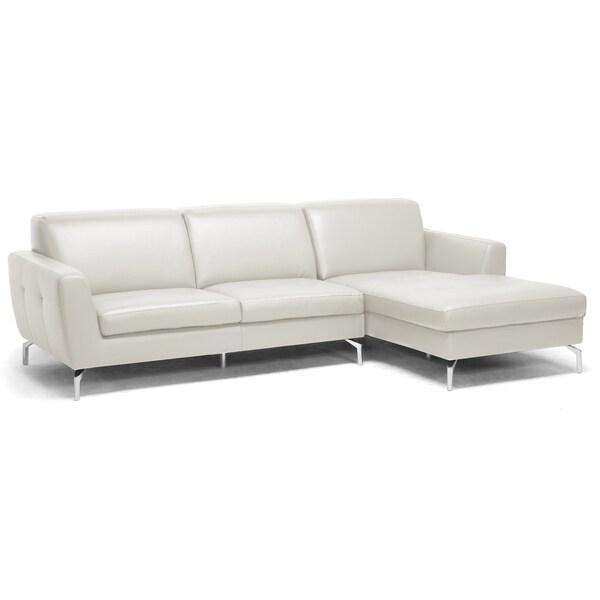 Donovan Cream Leather Modern Sectional Sofa