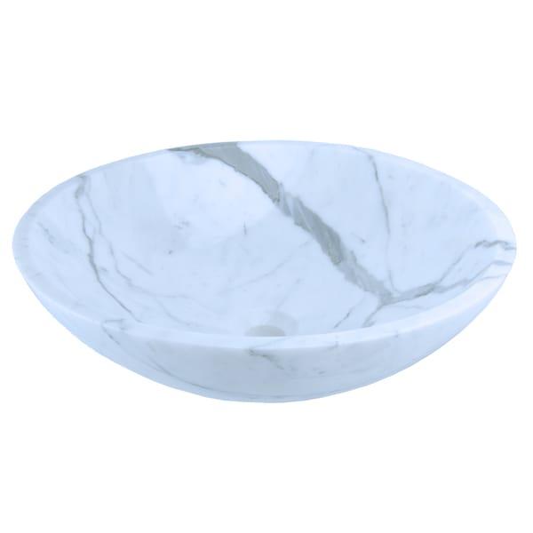 Italia Statuario White Marble Round Vessel Sink