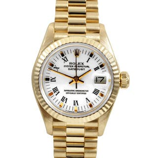 Pre-Owned Rolex Women's 18k Gold President Watch https://ak1.ostkcdn.com/images/products/7484904/7484904/Pre-owned-Rolex-Womens-18k-Gold-President-Watch-P14929927.jpg?impolicy=medium