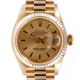 Pre-owned Rolex Midsize Women's 18k Gold Datejust Watch