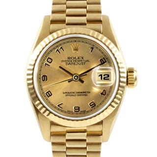 Pre-Owned Rolex Women's 18k Gold President Watch with Date Display https://ak1.ostkcdn.com/images/products/7484926/7484926/Pre-owned-Rolex-Womens-18k-Gold-President-Watch-P14929930.jpg?impolicy=medium