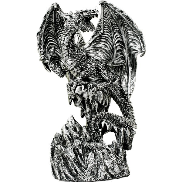 Silver Dragon Standing on Mountain Statue with Sword Letter Opener (9-inches overall)