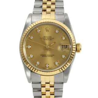Pre-owned Rolex Midsize Women's Two-tone Steel Diamond Datejust Watch https://ak1.ostkcdn.com/images/products/7484951/7484951/Pre-owned-Rolex-Midsize-Womens-Two-tone-Steel-Diamond-Datejust-Watch-P14929989.jpg?impolicy=medium
