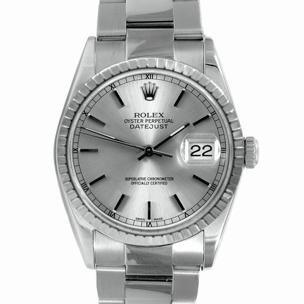 Pre-Owned Rolex Men's Stainless-Steel Datejust Watch with Folding Clasp