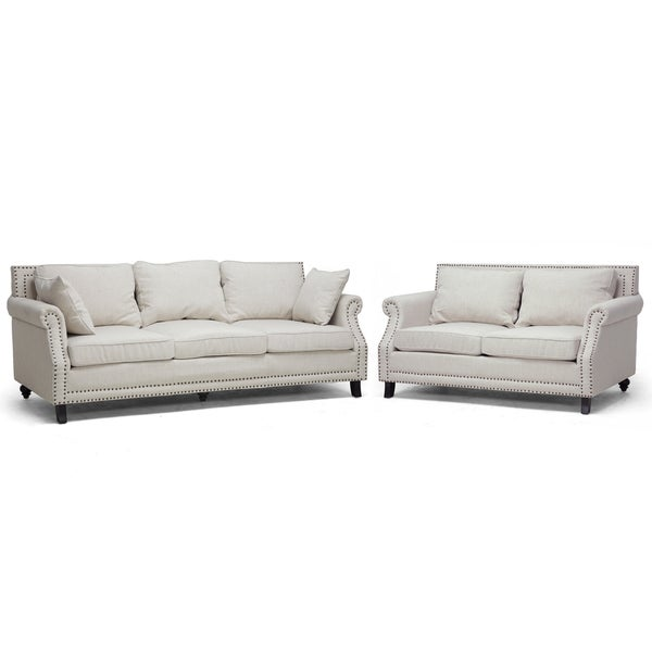 Mckenna 2-piece Beige Linen Modern Sofa Set