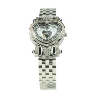 Techno by KC Women's Stainless Steel Heart-shaped Diamond Watch