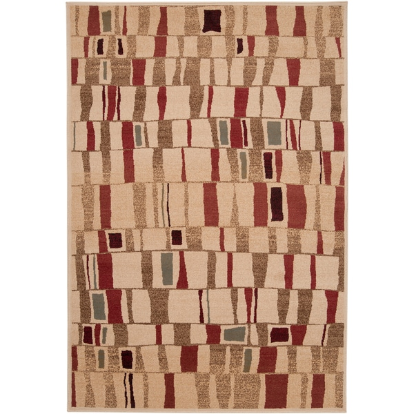 Woven Grandview Burgundy Abstract Squares Plush Rug (2'3 x 3')
