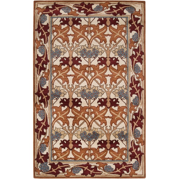 Hand-tufted Red Bordered Novelty Tualatin New Zealand Wool Rug (2' x 3')