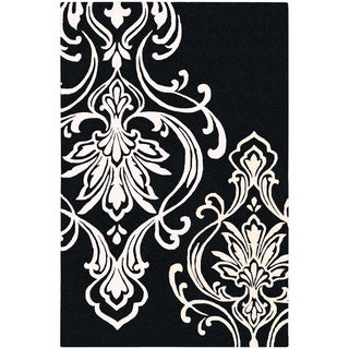 Hand-tufted Coward Black Damask Pattern Wool Rug (2' x 3')