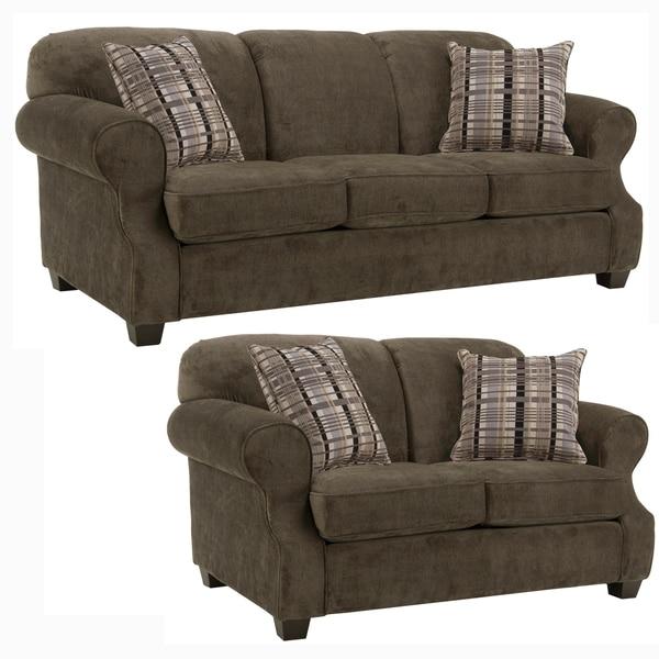 Carlton Brown Fabric Sofa And Loveseat