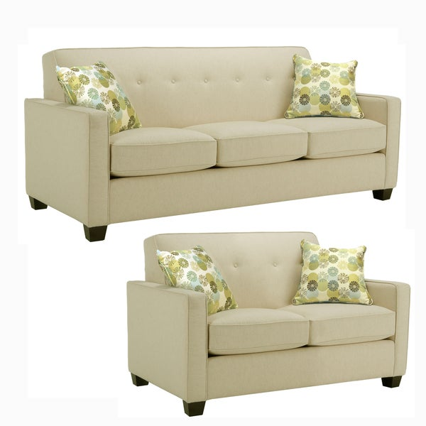 Laguna Cream Fabric Sofa and Loveseat - Free Shipping ...