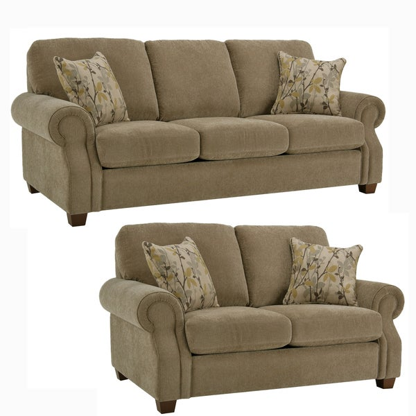 Thompson Bronze Fabric Sofa and Loveseat
