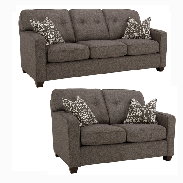 Shop Maxwell Charcoal Grey Sofa And Loveseat Free Shipping Today