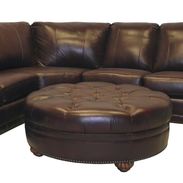 Troy Chestnut Brown Italian Leather Sectional Sofa and Ottoman - Free Shipping Today - Overstock.com - 14930063  sc 1 st  Overstock.com : italian leather sectionals - Sectionals, Sofas & Couches