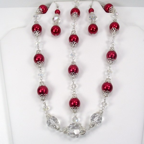 Cherry Red Pearl and Clear Crystal Jewelry Set