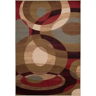 Hand-woven Grapevine Geometric Circles Plush Area Rug