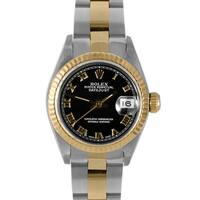 Pre-Owned Rolex Women's Two Tone Datejust Black Roman Dial Oyster 6917 2T Watch
