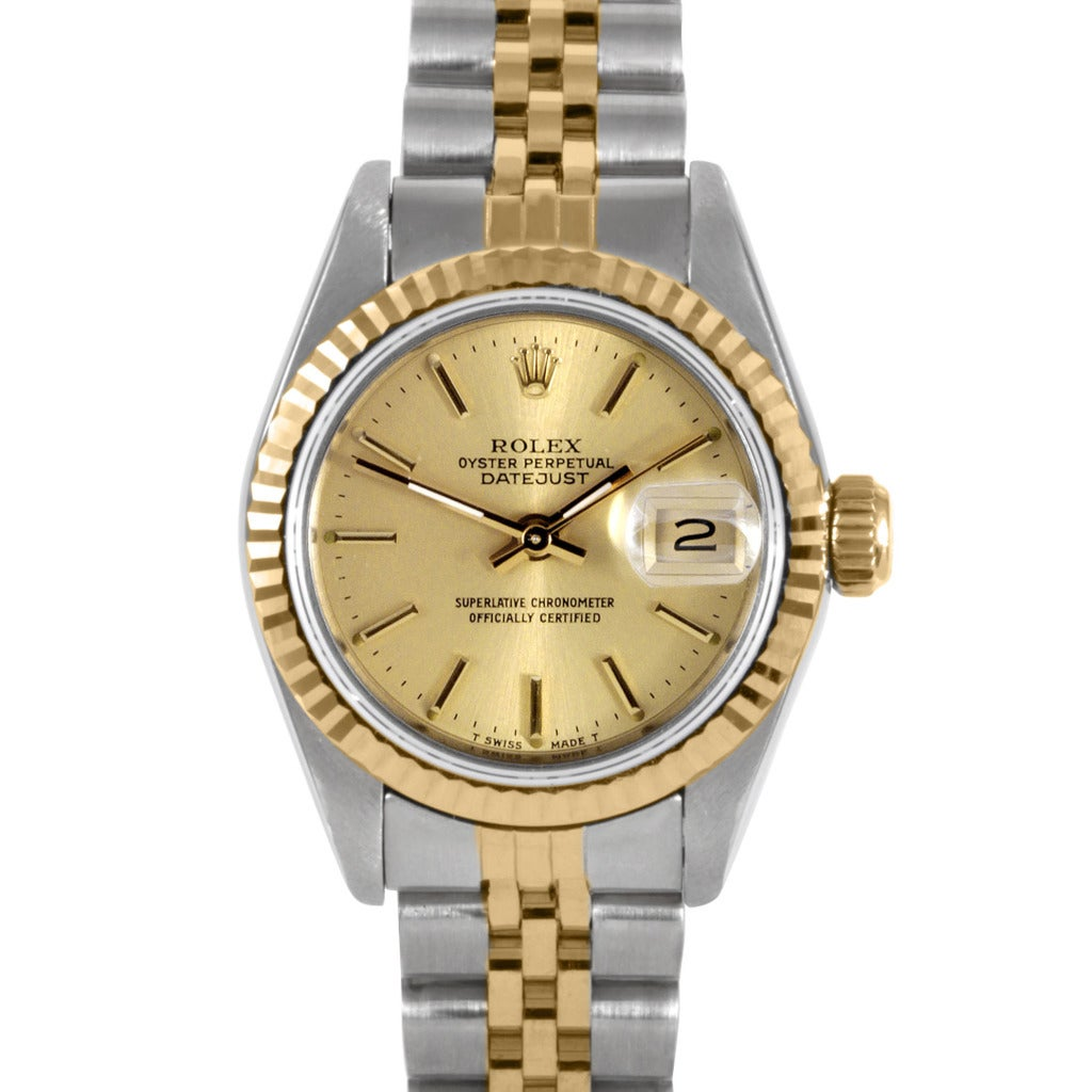 Pre owned Rolex Womens Two tone Datejust Watch With Champ...