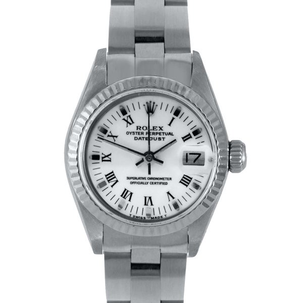 Pre-Owned Rolex Women's White Roman Stainless Steel Datejust Watch