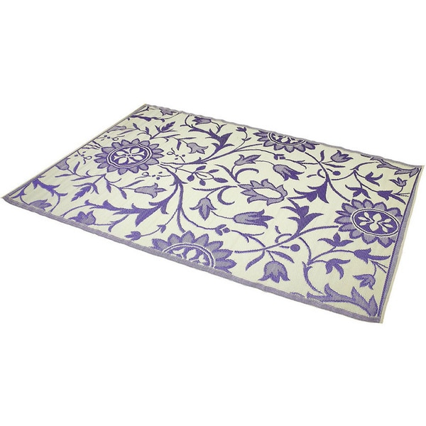 Reversible Indoor/ Outdoor Purple/ Ivory Rug (6' x 9') (India)