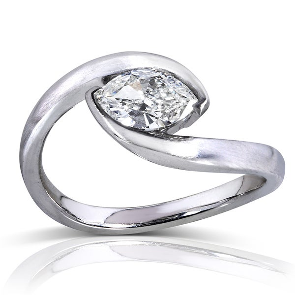 Annello by Kobelli 14k White Gold 3/4ct TDW Certified Marquise Diamond Ring (J, SI1)