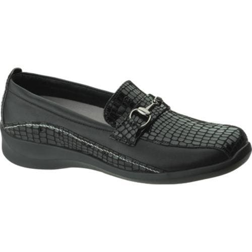 Women's Apex Essence Ornamented Slip On Black Alligator Textured Leather - Thumbnail 0