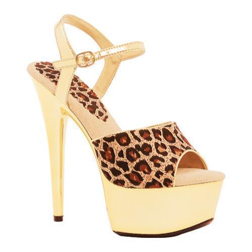Women's Ellie Simba-609 Leopard Fabric/Gold Chrome