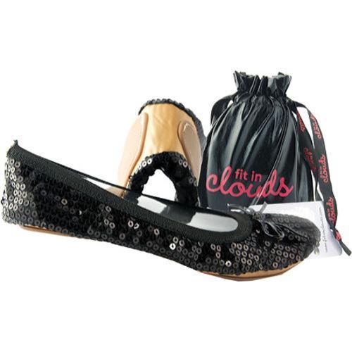 Women's Sequin Foldup Shoes Black Sequin
