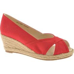Women's Oomphies Lady Peep-Toe Red Canvas