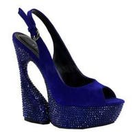 Women's Pleaser Day & Night Swan 654DM Royal Blue Suede