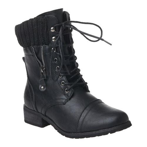 Women's Reneeze Alice-04 Black Leather Boots - Thumbnail 0