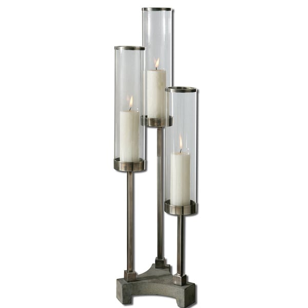 Uttermost Risto Brushed Silver Candle Holder