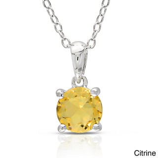 Miadora Sterling Silver Gemstone Solitaire Necklace
