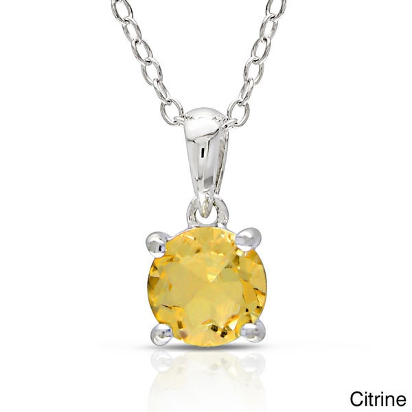 Miadora Sterling Silver Gemstone Solitaire Necklace