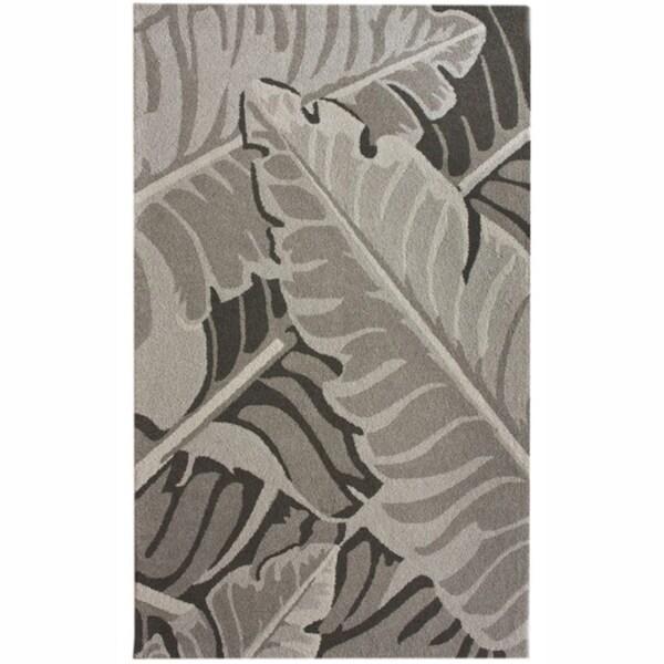 nuLOOM Handmade Grey Bold Leaves Wool Rug