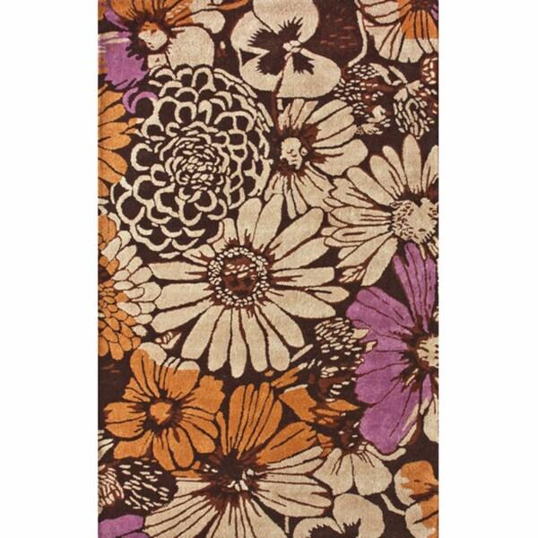nuLOOM Handmade Brown Bold Floral Wool Rug