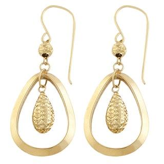 Fremada 14k Yellow Gold Polished/ Diamond-cut Teardrop Dangle Earrings