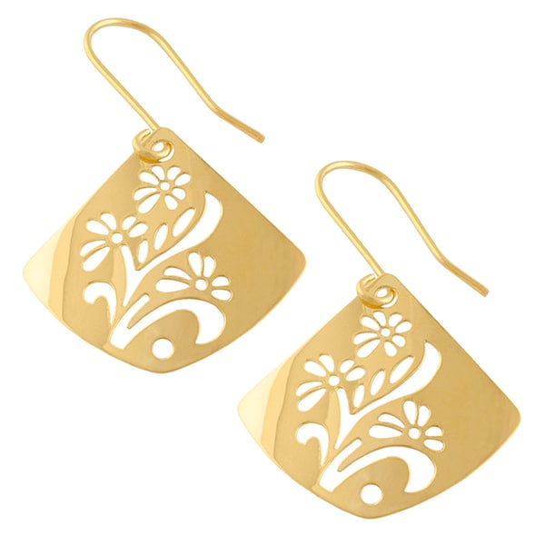 Fremada 14k Yellow Gold Polished Square Flower Cut-out Drop Earrings