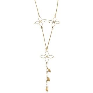 Fremada 10k Yellow Gold Flower Adjustable Necklace
