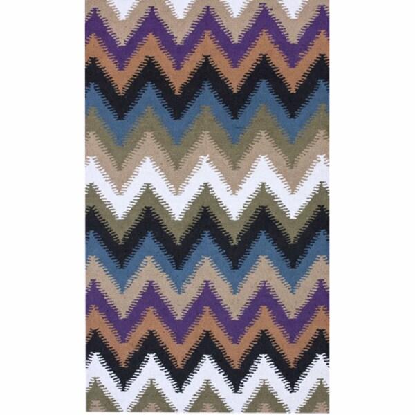 nuLOOM Handmade Chevron Wool Rug - 7'6 x 9'6
