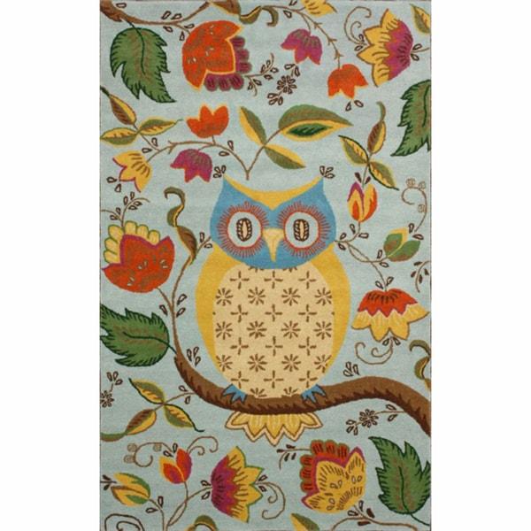 nuLOOM Handmade Floral Owl Wool Rug