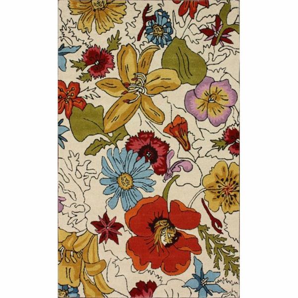 nuLOOM Handmade Bold Floral Wool Rug